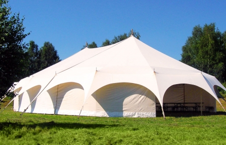 Marquee tents with curved canvas design
